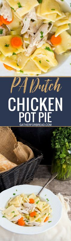 Pennsylvania Dutch Chicken Pot Pie - Soup like recipe is the BEST comfort food. Filled with homemade dough squares rolled from scratch and fresh chicken. Pa Dutch Chicken Pot Pie Recipe, Chicken Recipes, Turkey Recipes, Slippery Chicken Pot Pie Recipe, Chicken Meals, Fall Recipes, Entree Recipes, Soup Recipes, Cooking Recipes