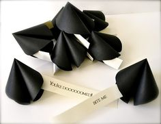 Halloween black paper misfortune cookies. Repinned from Vital Outburst clothing vitaloutburst.com
