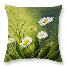 "Daisies in the Mist Throw Pillow 14"" x 14"""