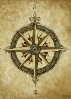 Compass rose fine art prints and posters for sale map compass, nautical com Nautical Compass Tattoo, Compass Art, Pirate Compass, Vintage Compass, Vintage Nautical, Mariners Compass, Animal Tattoos, Sleeve Tattoos, Tattoo Arm