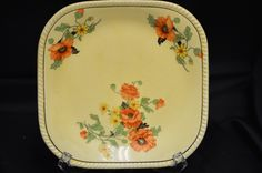 "Sebring Pottery Co, Ohio, ""The Poppy"" Golden Maize Yellow Bread and Butter Plate by BigBlossomAntiques on Etsy"