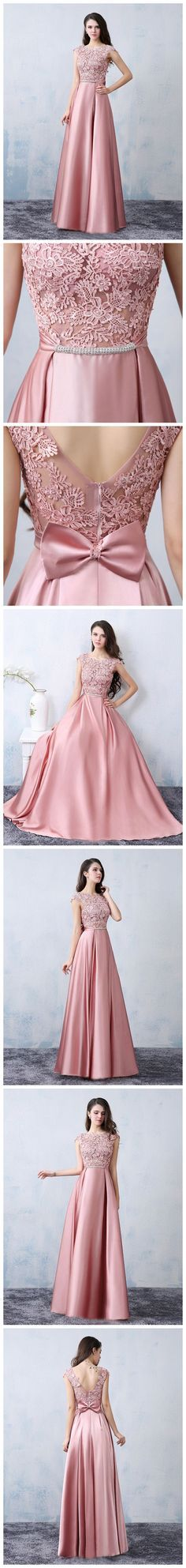Chic A-line Scoop Pink Satin Applique Modest Prom Dress Evening Dress Trendy Dresses, Modest Dresses, Prom Dresses, Formal Dresses, Modest Fashion, Fashion Dresses, Indian Gowns, Mode Hijab, Classy Dress
