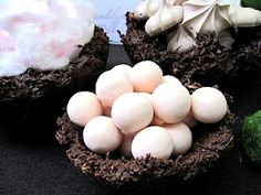 chocolate bird nest bowls to hold the dainty fairy food.