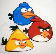 Blue, Red & Yellow Angry Bird Cards -  Step by Step and Pattern -  So Cute!
