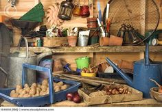 trugs, boxes, pots, seed packets, watering cans, bulbs, string, old lamps, onions, old scales, gardening gloves