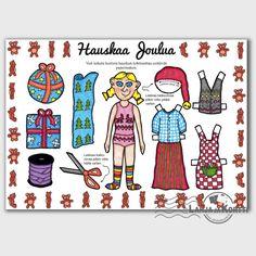 Tästä joulukortista syntyy Tonttutyttö-paperinukke, jolla leikkiessä joulu tulee kuin leikiten :)