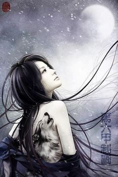 Tattoo woman art with wolf. Fantasy Girl, Chica Fantasy, 3d Fantasy, Fantasy Kunst, Anime Girl Crying, Poster S, Art Graphique, Gothic Art, Chinese Art