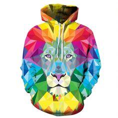 New Mens//Womens lion head black 3D Print casual Sweatshirt Hoodies pullover QL33