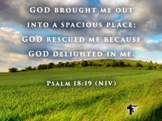 God brought me out into a spacious place; God rescued me because God delighted in me. Psalm 18:19 (NIV) #bibleverse #bible #scripture #quote #christian #jesus #faith #grace #niv #psalms #delight