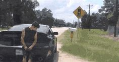 Guy gets pulled over for speeding. As he anxiously awaits his ticket - this happens. His reaction is priceless.