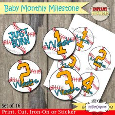 Baseball Baby Monthly Milestone Stickers / Iron by M2MPartyDesigns