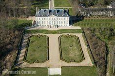 France, Île-de-France, Val-d'Oise (95), Chaussy, Domaine de Villarceaux, le château (vue aérienne)