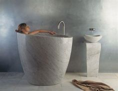 ProductFIND by Interior Design - Interior Design - ProductFIND by Interior Design Interior Design Magazine: Eau Soaking Tub, Carrara Marble by Stone Forest -