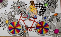 #doodles riding her bicycle - colorful ZenTangle