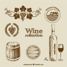 Wine collection in hand drawn style Free Vector Wine Bottle Glasses, Wine Bottle Labels, Bottle Mockup, Wine Label, Winery Logo, Barris, Wine Images, Wine Stains, Web Design