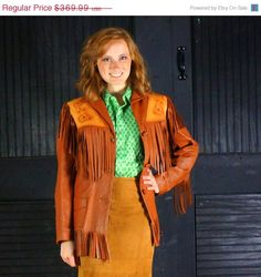 Cowgirl Fringe 1950s Hand Tailored Leather Western Jacket Womans Small Rancher Rodeo Tassel Fringed Coat Caramel Brown Chris Line Originals