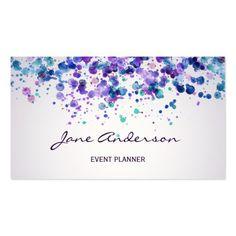 Watercolor purple violet blue paint splatter chic business card