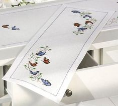 Permin Small Butterflies Table Runner Cross Stitch Kit - x Discover more kits by Permin at LoveCrafts. From knitting & crochet yarn and patterns to embroidery & cross stitch supplies! Shop all the craft materials you need to start your next pro Butterfly Cross Stitch, Cross Stitch Fabric, Cross Stitching, Cross Stitch Embroidery, Love Knitting, Addi Knitting Needles, Knitting Yarn, Butterfly Table, Cross Stitch Supplies