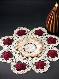 Crochet for the Home - Crochet Decor Patterns - Christmas Rose. Free download at free-crochet.com