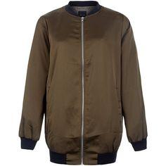 New Look Khaki Sateen Longline Bomber Jacket (605 ARS) ❤ liked on Polyvore featuring outerwear, jackets, khaki, brown jacket, long sleeve jacket, zip up jacket, brown bomber jacket and blouson jacket