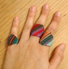 macrame rings.   got to study this!   kinda looks like friendship braclet - no instructions diy inspiration