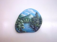 Mountain and River Scene with Fisherman Handpainted by ArtbyGlenna, $20.00