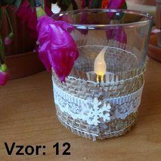 Sklenený svietnik Jarko - Sviečka - S čajovou sviečkou LED (plus 1€), Vzor - Vzor 12