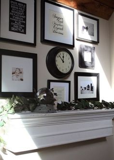 Black & White emphasis above a mantel. White mantel/shelf with black frames Picture Arrangements, Photo Arrangement, White Mantel, Mantle, Mantel Shelf, Queen, Inspiration Wall, House Rooms, Living Rooms