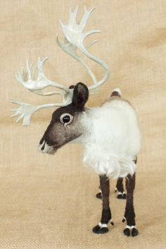 Made to Order Needle Felted Reindeer / Caribou: Custom needle felted animal sculpture Needle Felted Animals, Felt Animals, Wet Felting, Needle Felting, Felt Dragon, Felt Crafts Patterns, Felt Roses, Animal Sculptures, Wildlife Art