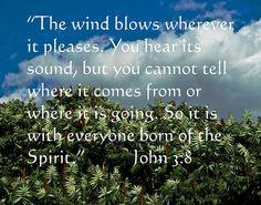 John 3:8.  Being born again/born of the Spirit.