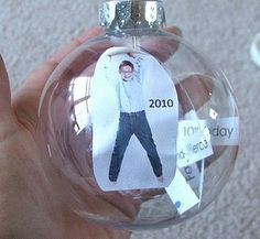 Time Capsule Ornament...really cool for senior year, first grade, etc. (since the kids get to take their ornaments when they leave home...)