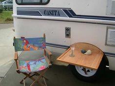 Outdoor table on a Casita trailer