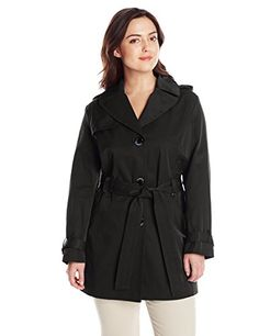 Ellen Tracy Outerwear Womens PlusSize Single Breasted Classic Trench Coat Black 1X *** You can get more details by clicking on the image.