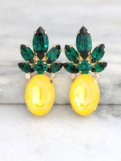 Pineapple EarringsStatement EarringsYellow Emerald Crystal