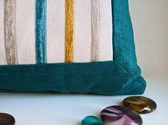 Pillow cover with gold green beige stripes outdoor pillow