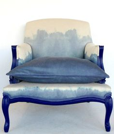 Absolutely dying over this blue and white dip dye upholstered chair from reStyle studio!