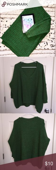 Green Slouchy Sweater extremely comfy green sweater with tight sleeves and a boxy oversized torso, great for pairing with skinny jeans or leggings!  ✨just trying to clean out my closet, make an offer and it's yours!✨ Sweaters V-Necks