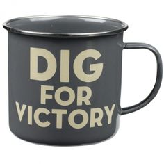 The Thoughtful Gardener Enamel Mug Dig for Victory #wildandwolf