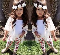 3PCS Kids Baby Girls Clothes T-Shirt Top  Vest  Floral Pants Cotton Outfits 2-8Y #BabyGilrsClothes