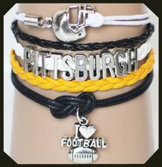 Show your Pittsburgh colors with this Pittsburgh Steelers football bracelet, just in time for football season.