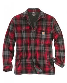 Carhartt Men's Hubbard Sherpa Lined Shirt Jac - - Regular - Dark Crimson Lined Flannel Shirt, Carhartt Jacket, Carhartt Workwear, Western Outfits, Swagg, Sherpa Lined, Men Casual, Menswear, Fashion Clothes