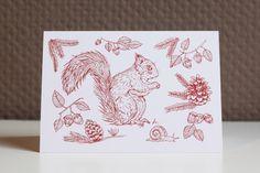 Carte de voeux écureuil, Miss A.