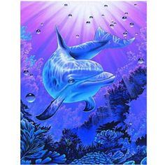 2017 New Hot Sale Paintings Animal diy diamond painting cross stitch dolphin icons Round Resin Diamond Embroidery Kit Printed Dolphin Painting, Dolphin Art, Dolphins Tattoo, Bottlenose Dolphin, Hawaiian Art, Water Animals, Underwater World, Wildlife Art, Marine Life
