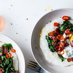 Cheesy Grits with Poached Eggs, Greens, and Bacon Recipe