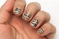 halloween mummy nail art for short nails