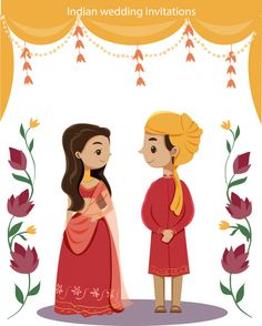 wedding invitations cards Cute indian couple for wedding invitaions card Premium Vector Wedding Card Design Indian, Indian Wedding Couple, Indian Wedding Cards, Wedding Couples, Wedding Couple Cartoon, Wedding Gifts, Indian Wedding Invitation Cards, Wedding Invitation Background, Wedding Invitation Card Design