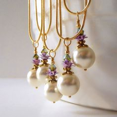 Pearl Pendant Necklace Ivory and Purple Wedding Jewelry Floral Bridesmaid Sets Beaded Jewellery Handmade