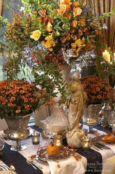 Autumn Table Decor Autumn Home Antique Furniture Thanksgiving Tablescapes, Thanksgiving Decorations, Seasonal Decor, Table Decorations, Holiday Decor, Happy Thanksgiving, Wedding Decorations, Fall Table Settings, Beautiful Table Settings