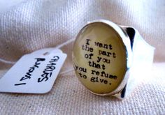 Anello Ring Charles Bukowski Quotes American Literature Love Poetry Cameo glass