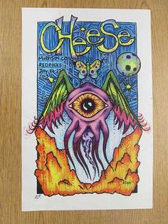 Original concert poster for The String Cheese Incident at Red Rocks in Morrison, Colorado in 2013.  11 x 17 inches. Signed by the artist. Handling marks and stain.